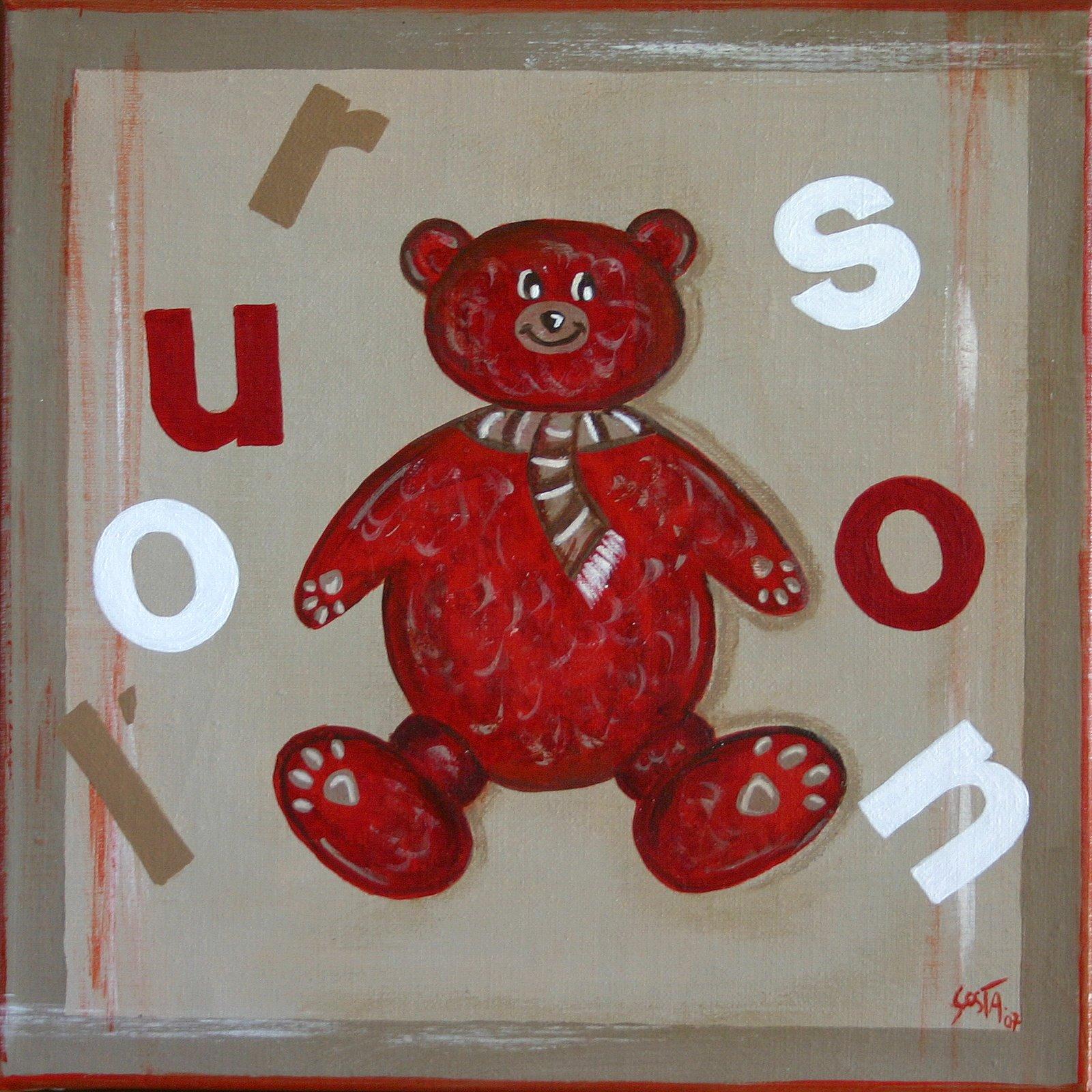 Tableau Contemporain, L'ourson rouge. Sophie Costa, artiste peintre.