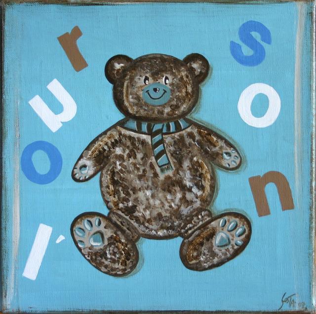 Tableau Contemporain, L'ourson bleu. Sophie Costa, artiste peintre.