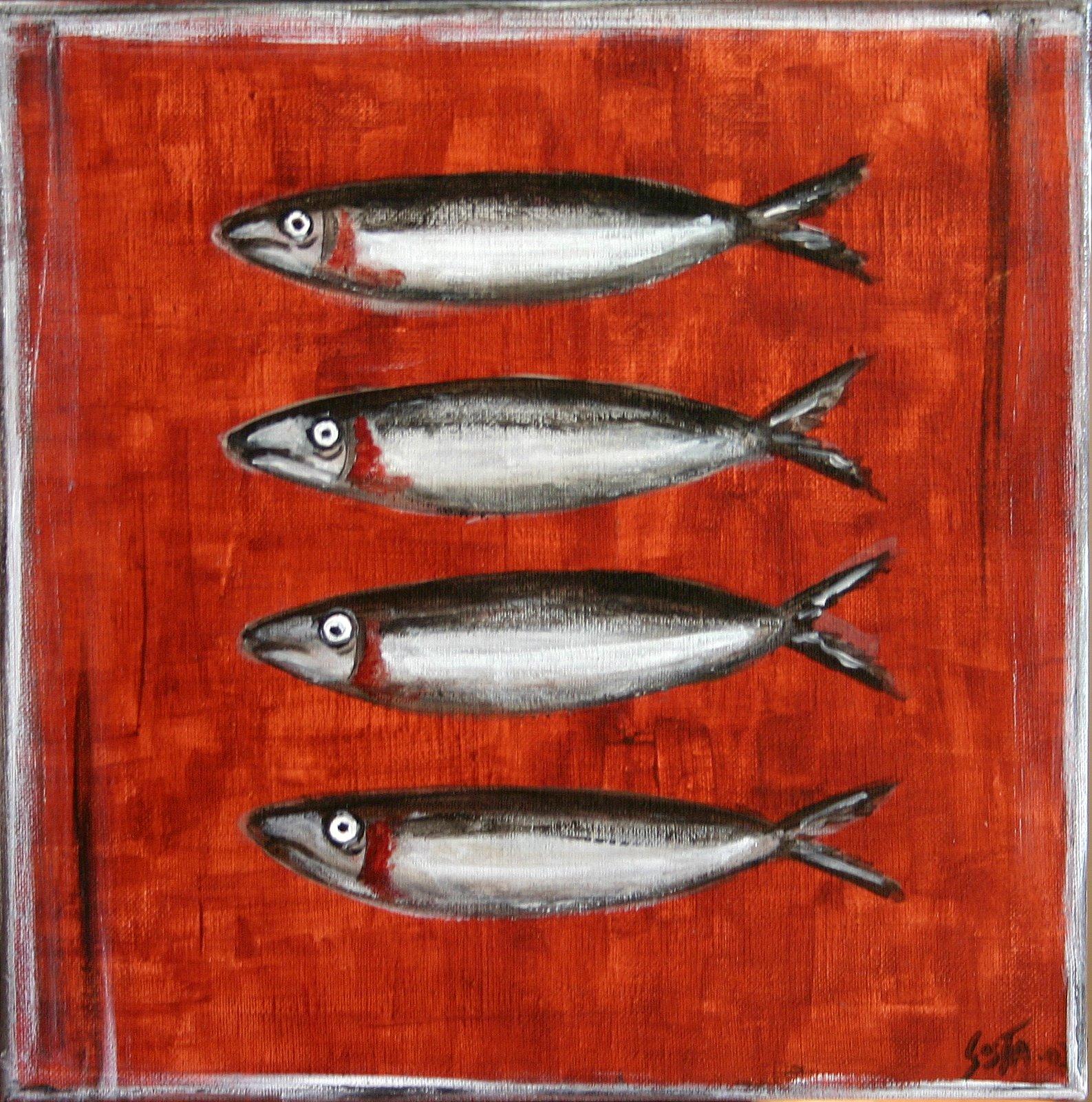 Tableau Contemporain, Les sardines. Sophie Costa, artiste peintre.