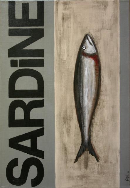 Tableau Contemporain, SARDINE gris #2. Sophie Costa, artiste peintre.