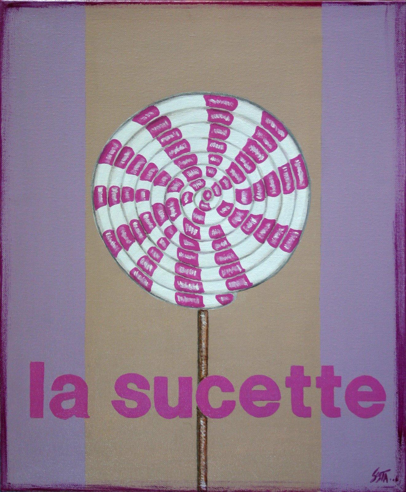 Tableau Contemporain, La sucette. Sophie Costa, artiste peintre.