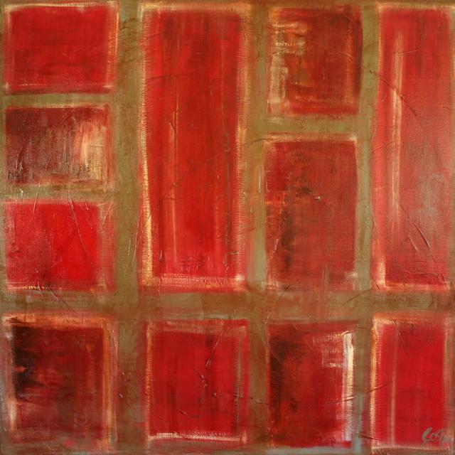 Tableau Contemporain, Rouge 01. Sophie Costa, artiste peintre.