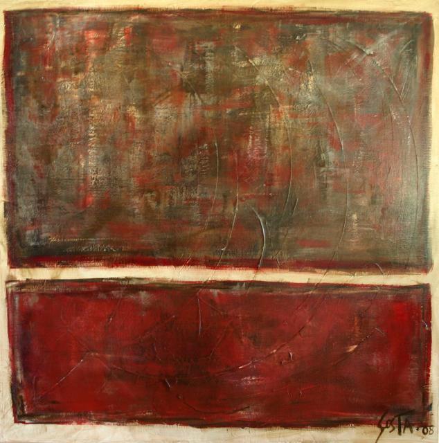 Tableau Contemporain, Rouge 02. Sophie Costa, artiste peintre.