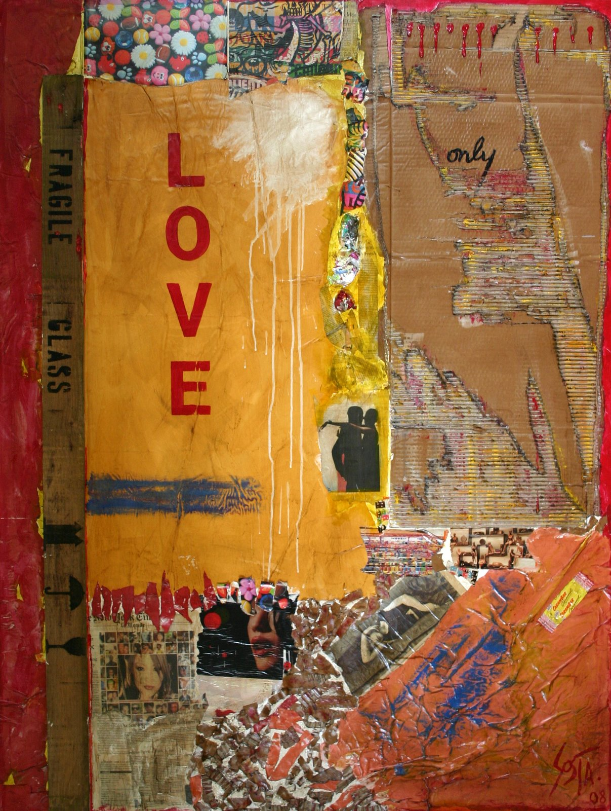 Tableau Contemporain, LOVE only. Sophie Costa, artiste peintre.