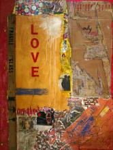 Tableau abstrait contemporain, collage, Love only