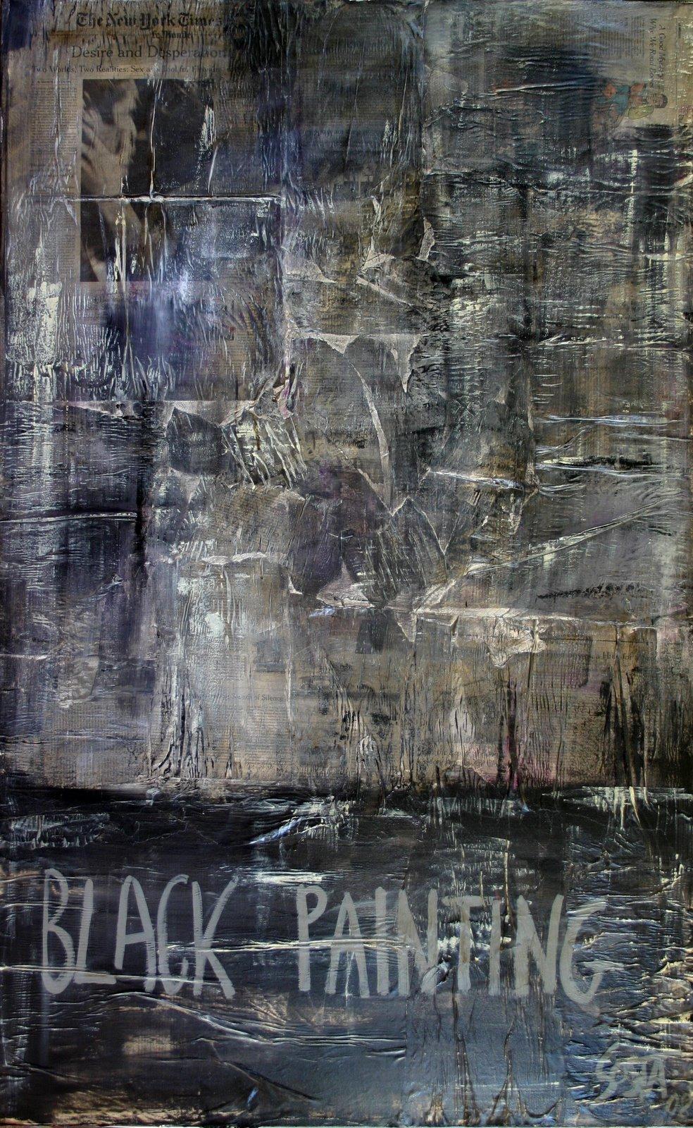 Tableau Contemporain, BLACK PAINTING 3. Sophie Costa, artiste peintre.
