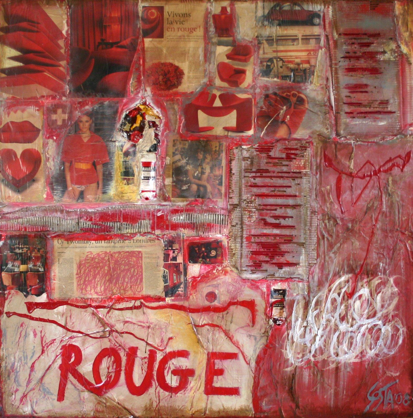 Tableau Contemporain, ROUGE. Sophie Costa, artiste peintre.