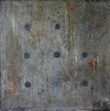 tableau contemporain gris et points noirs