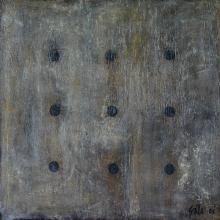 tableau abstrait gris avec points noirs