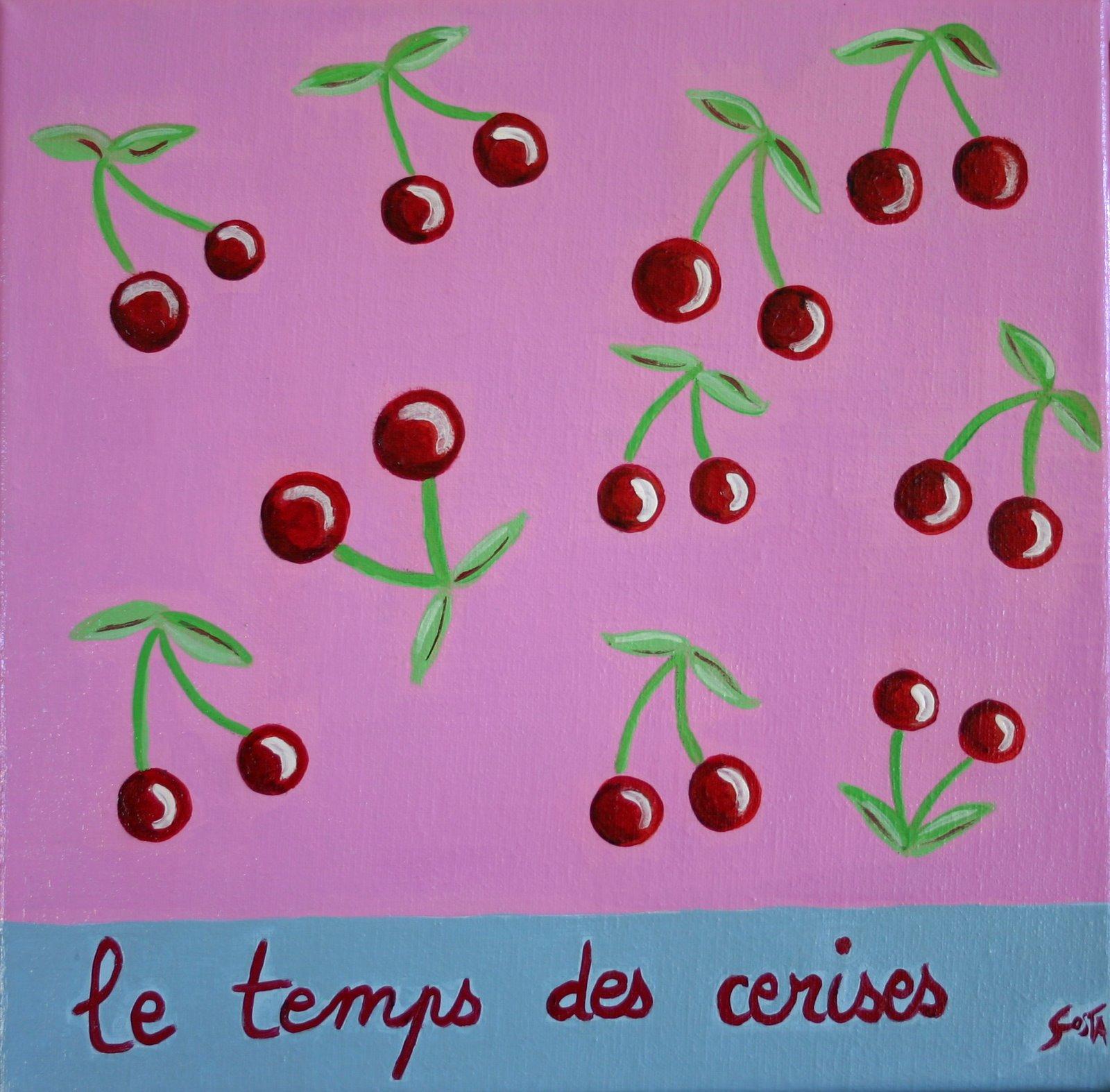 Tableau Contemporain, Le temps des cerises. Sophie Costa, artiste peintre.