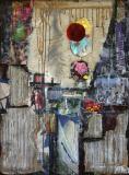 Tableau abstrait contemporain, collage, Tokyo