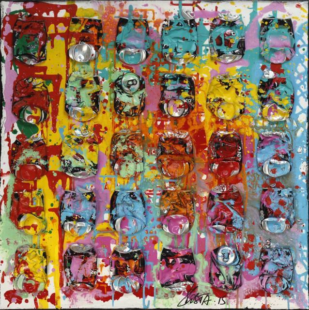 multicolore, canettes compressées Tableau Contemporain, SPLASH !. Sophie Costa, artiste peintre.