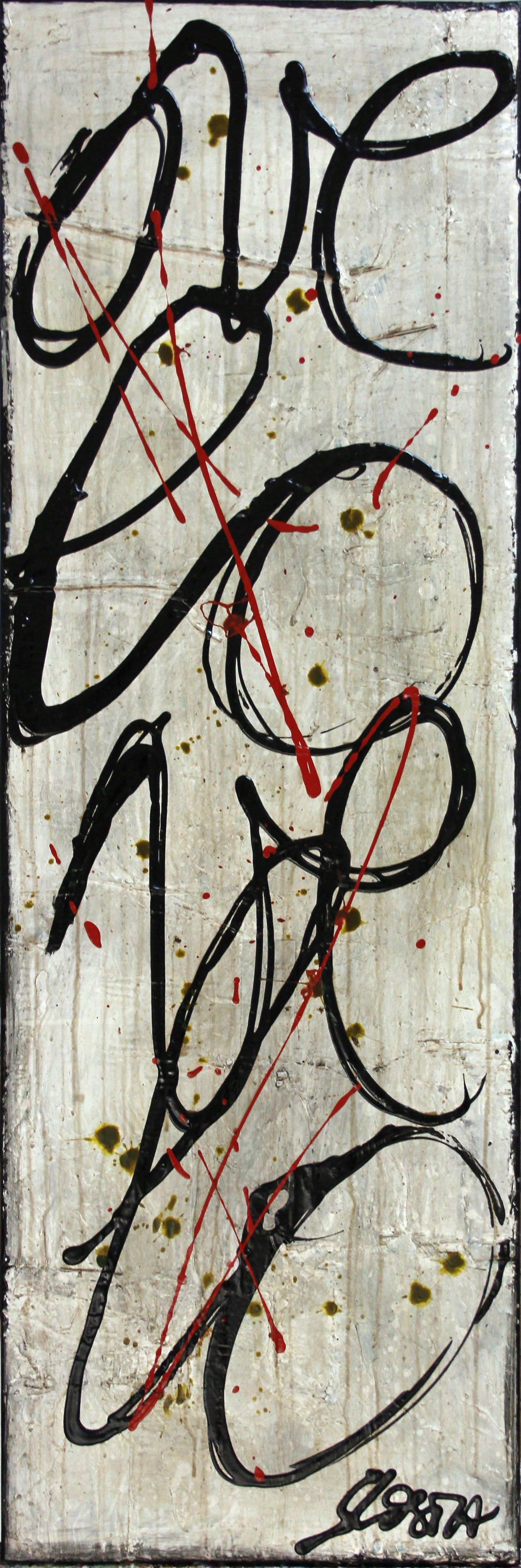 noir, blanc, écriture Tableau Contemporain, L O V E. Sophie Costa, artiste peintre.