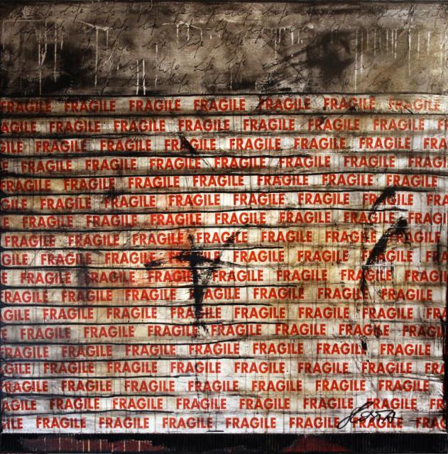 fragile, scotch, collage Tableau Contemporain, FRAGILE LIFE. Sophie Costa, artiste peintre.