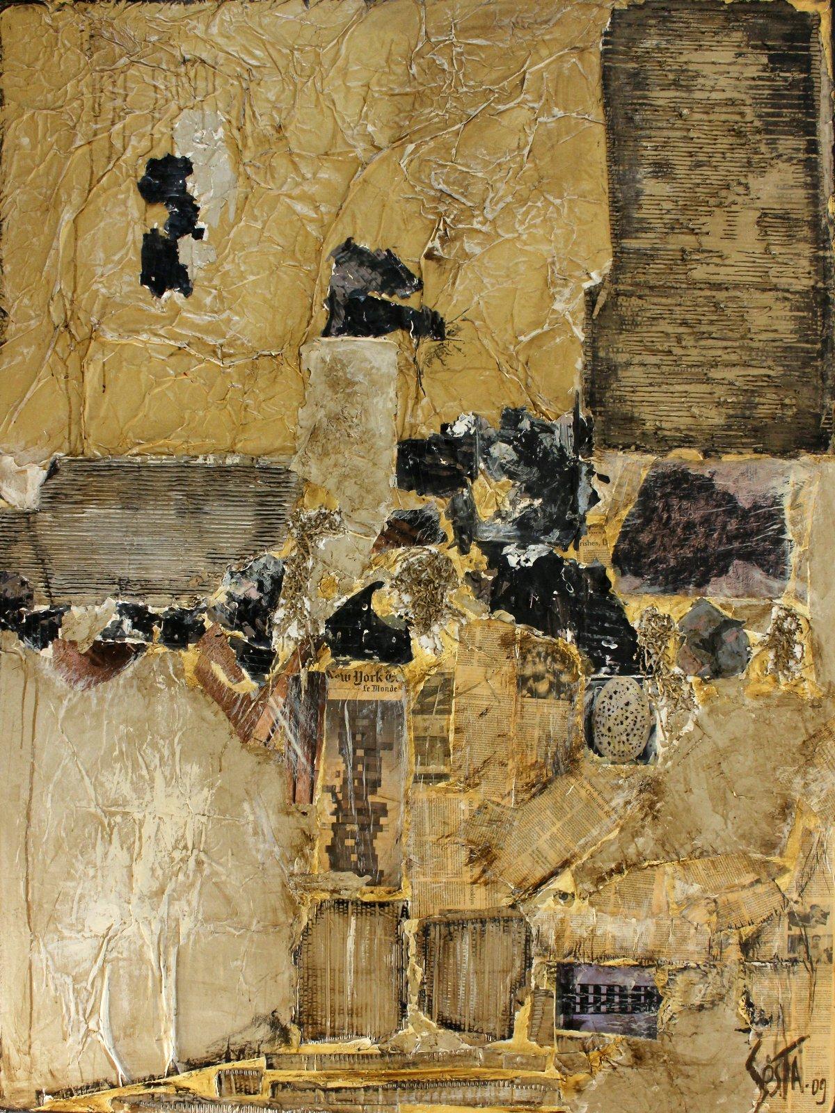 BRUT, Tableau abstrait contemporain, ocre collage Tableau Contemporain, BRUT. Sophie Costa, artiste peintre.