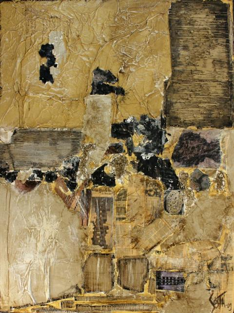 BRUT, Tableau abstrait contemporain, ocre collage Tableau Contemporain, BRUT. Sophie Costa, artiste peintre.
