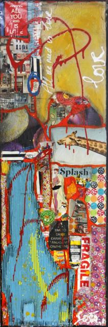 collage, multicolore Tableau Contemporain, All we need is love. Sophie Costa, artiste peintre.