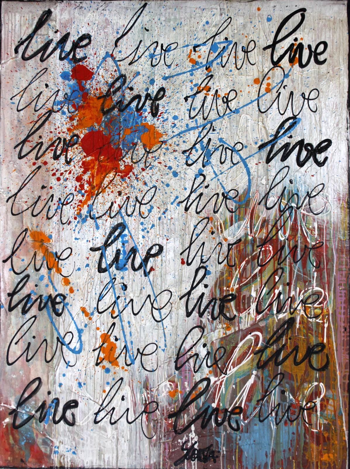live, écriture Tableau Contemporain, LIVE. Sophie Costa, artiste peintre.