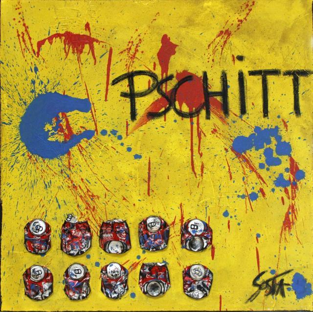 canette de coca, jaune, rouge, bleu Tableau Contemporain, PSCHITT . Sophie Costa, artiste peintre.