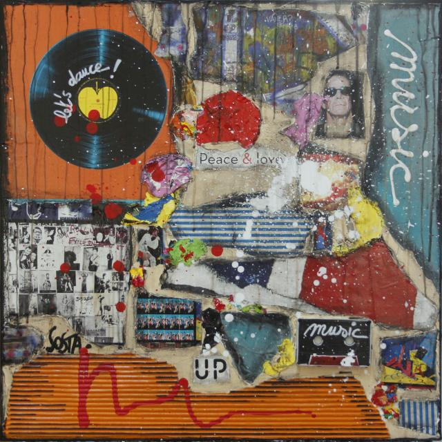 collage, multicolore,music  Tableau Contemporain, MUSIC #2. Sophie Costa, artiste peintre.