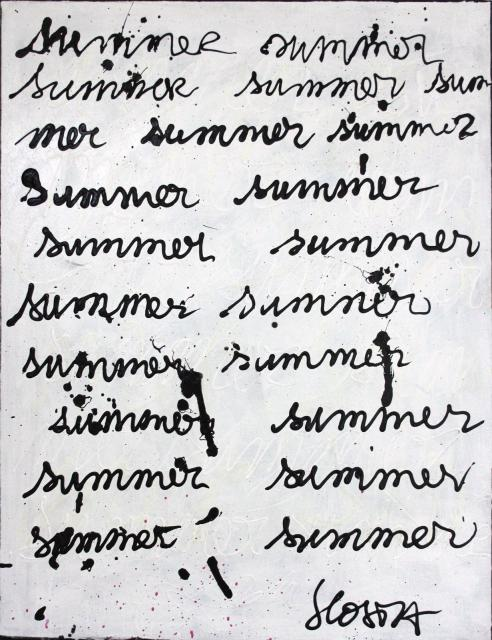 lettrisme, noir, blanc,  Tableau Contemporain, SUMMER. Sophie Costa, artiste peintre.