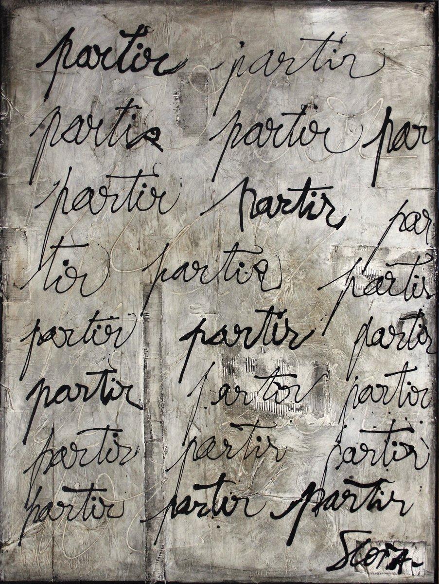 gris, écriture, partir Tableau Contemporain, PARTIR. Sophie Costa, artiste peintre.