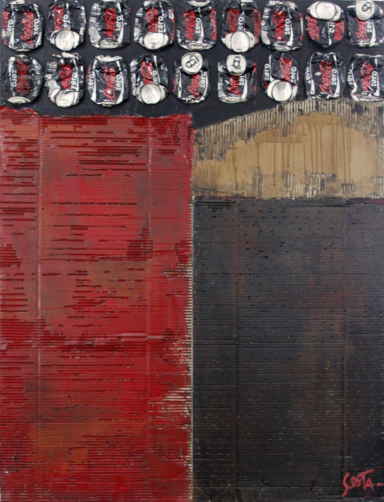Toile abstraite contempraine Rouge/noir/cartons/canette de coca cola zero Tableau Contemporain, Waste Art. Sophie Costa, artiste peintre.