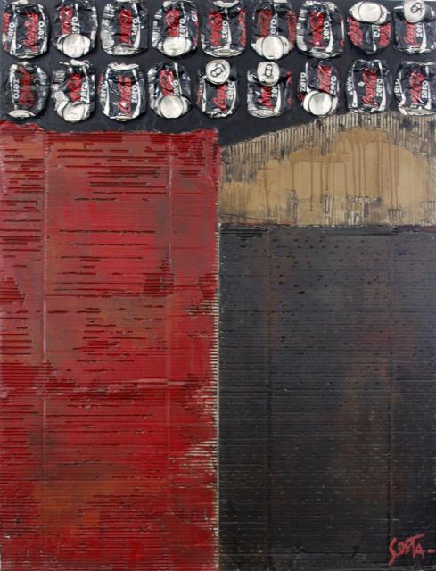 Toile abstraite contempraine Rouge/noir/cartons/canette de coca cola zero Tableau Contemporain, Waste Art. Sophie Costa, artiste peintre.