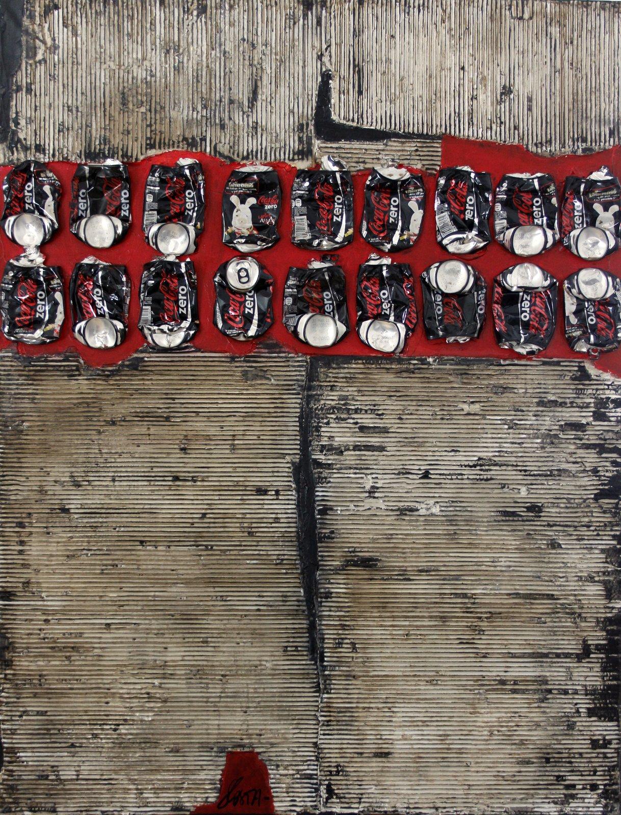 Toile abstraite contemporaine. noir, gris, rouge. Carton,canette de coca Tableau Contemporain, Waste Art 2. Sophie Costa, artiste peintre.