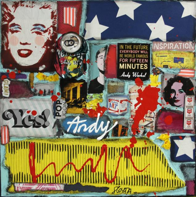 collage, multicolore, andy warhol Tableau Contemporain, Tribute to Andy . Sophie Costa, artiste peintre.