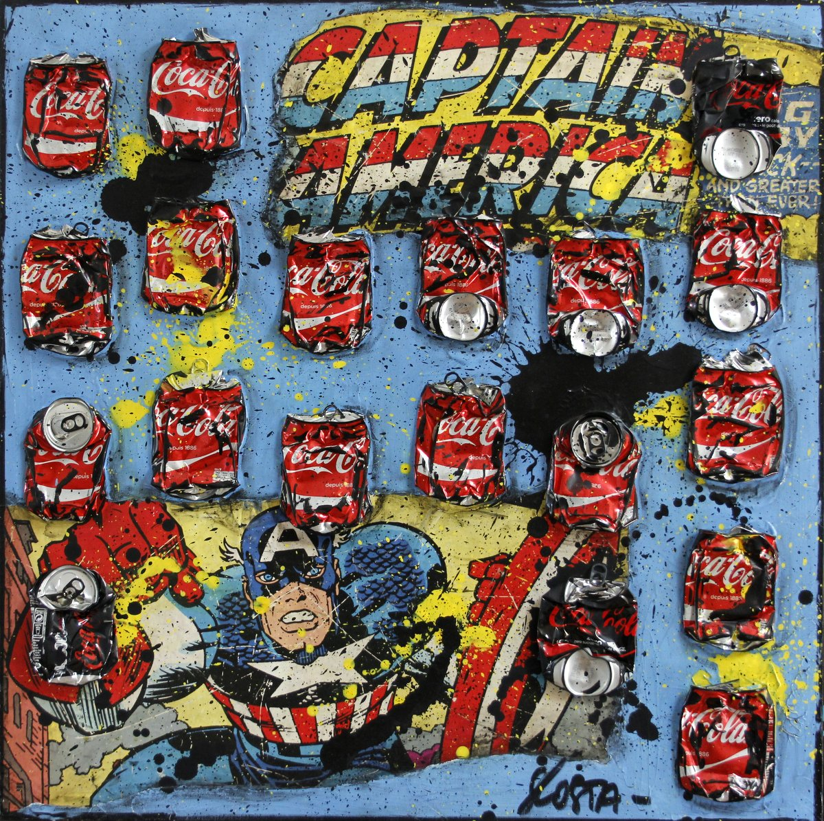 comics, collage Tableau Contemporain, CAPTAIN AMERICA. Sophie Costa, artiste peintre.