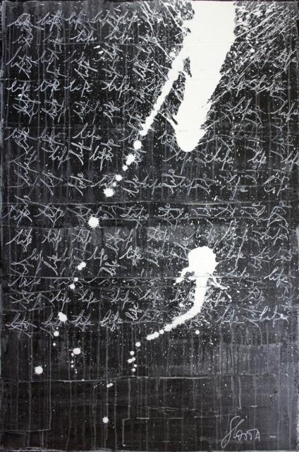 life, ecriture, enduit Tableau Contemporain, LIFE # 2. Sophie Costa, artiste peintre.