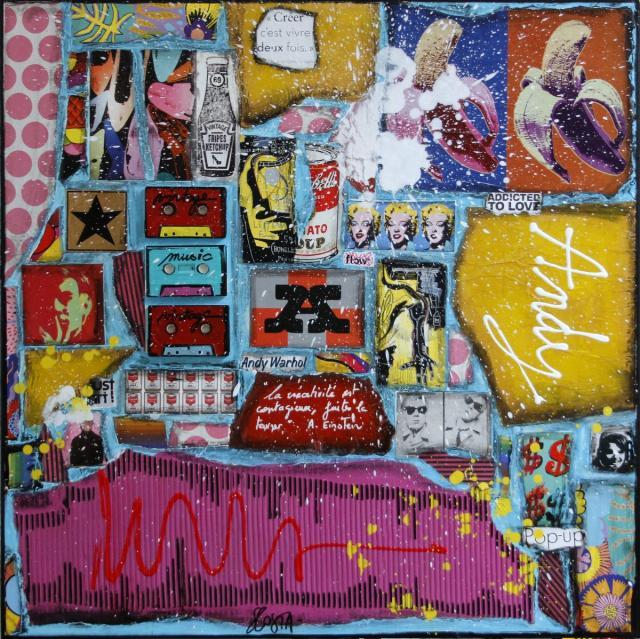 andy warhol, pop art, collage Tableau Contemporain, Andy. Sophie Costa, artiste peintre.