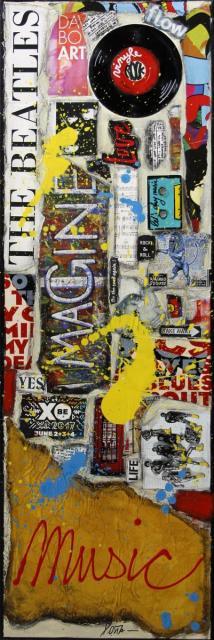 music, vinyle, collage, pop rock Tableau Contemporain, MUSIC # 3. Sophie Costa, artiste peintre.