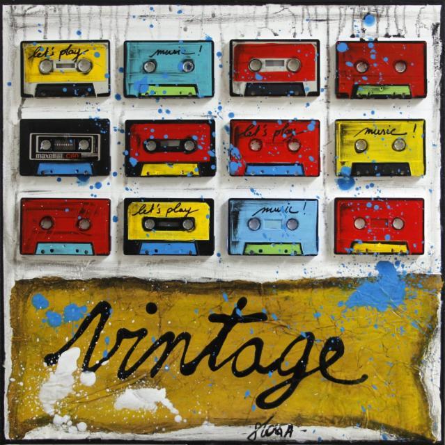 collage, k7, cassettes audio, multicolore Tableau Contemporain, Vintage K7. Sophie Costa, artiste peintre.