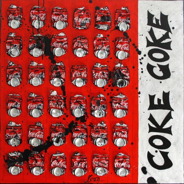 cocacola, canetttes, collage Tableau Contemporain, COKE  . Sophie Costa, artiste peintre.