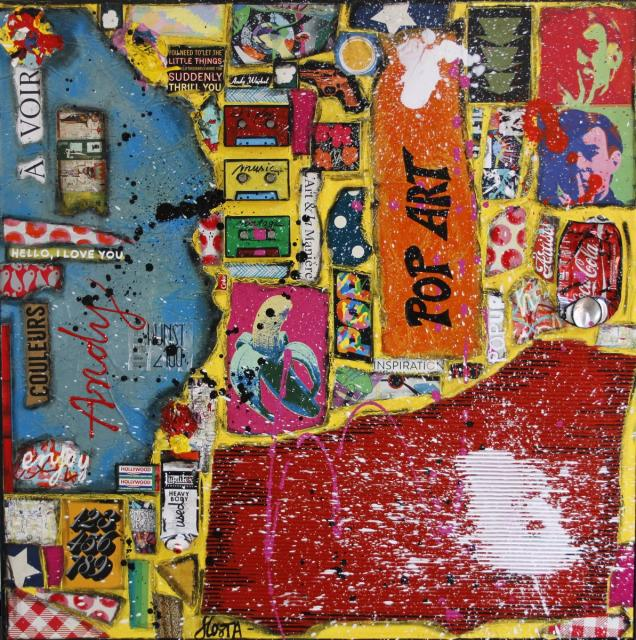 pop art, collage, couleurs Tableau Contemporain, POP ART. Sophie Costa, artiste peintre.