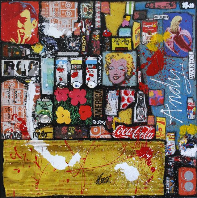 rock, collage, multicolore, vinyle Tableau Contemporain, ANDY !. Sophie Costa, artiste peintre.
