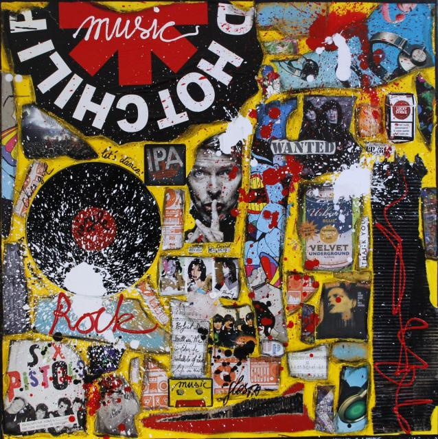 rock, multicolore, music, vinyle Tableau Contemporain, Let there be Rock !. Sophie Costa, artiste peintre.
