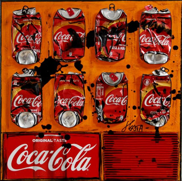 coca, collage Tableau Contemporain, Orange coke. Sophie Costa, artiste peintre.