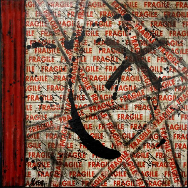 fragile, collage Tableau Contemporain, FRAGILE LIFE. Sophie Costa, artiste peintre.