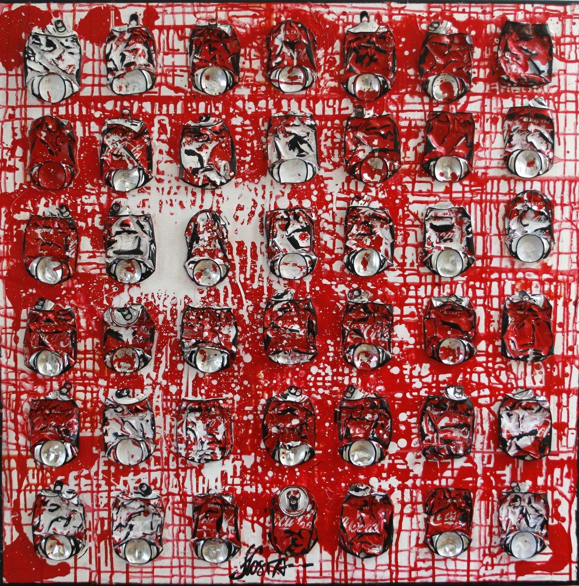 collage, canettes compressées Tableau Contemporain, WHITE ON RED. Sophie Costa, artiste peintre.