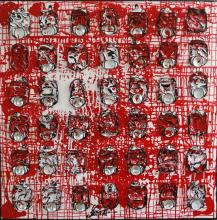 Tableau WHITE ON RED : Artiste peintre Sophie Costa