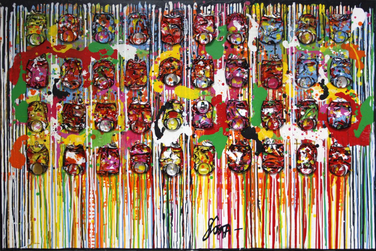collage, multicolore, cocacola, pop Tableau Contemporain,  Happy life !. Sophie Costa, artiste peintre.