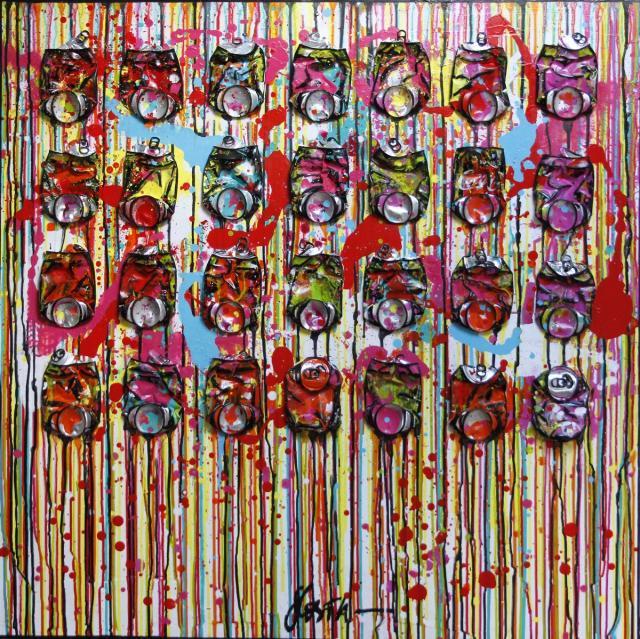 canettes compressées, collage, multicolore Tableau Contemporain, Don't worry, be happy !. Sophie Costa, artiste peintre.
