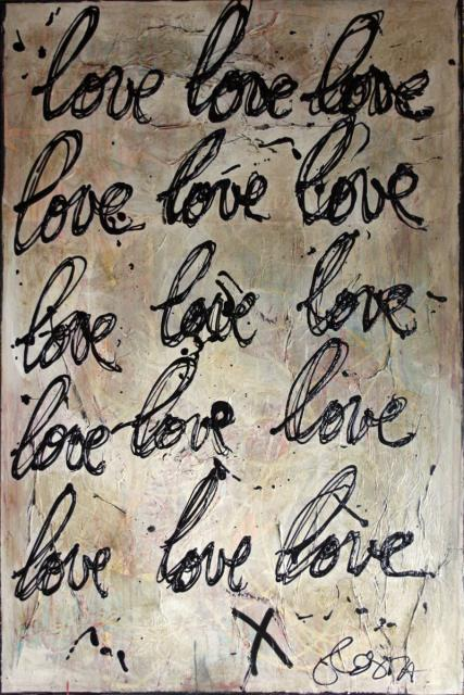 collage, écriture, love Tableau Contemporain, Just Love . Sophie Costa, artiste peintre.