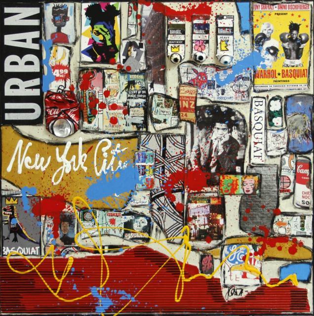 collage, basquiat, warhol Tableau Contemporain, Basquiat vs Warhol. Sophie Costa, artiste peintre.