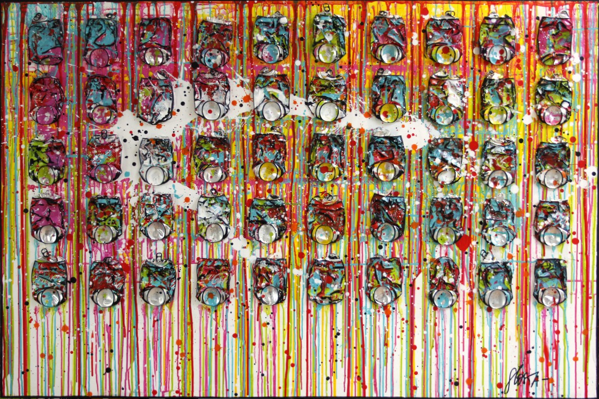 cocacola, collage, multicolore Tableau Contemporain, FRESH. Sophie Costa, artiste peintre.