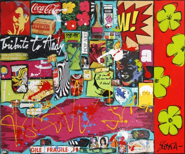 collage, popart, multicolore Tableau Contemporain, POWER FLOWER. Sophie Costa, artiste peintre.