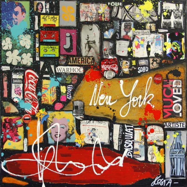 collage, multicolore, pop art, warhol, basquiat Tableau Contemporain, The Battle ?. Sophie Costa, artiste peintre.